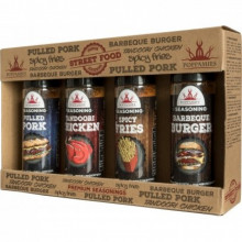 Streetfood kryddor 4-Pack (Spicy Fries, Pulled Pork, BBQ Burger, Tandoori)